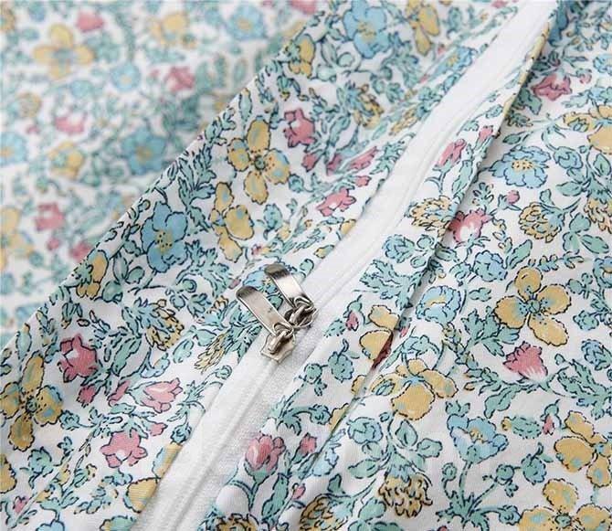 Super Sweet Hand-Appliqued Blue Cotton 4-Piece Duvet Cover Sets