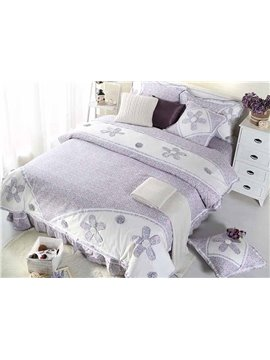 High Quality Cozy Hand-Appliqued 4-Piece Cotton Duvet Cover Sets