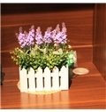 Purple Lavender with Fence Artificial Flowers
