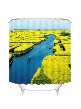 Spectacular Water Artificial Field Print 3D Bathroom Shower Curtain
