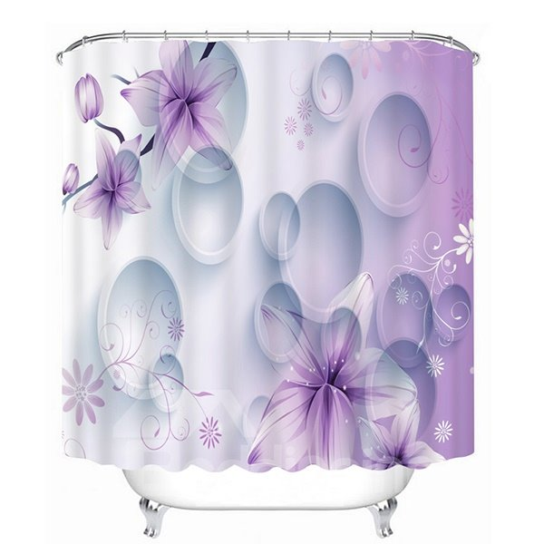Beautiful Purple Phalaenopsis and White Circles Print 3D Shower Curtain