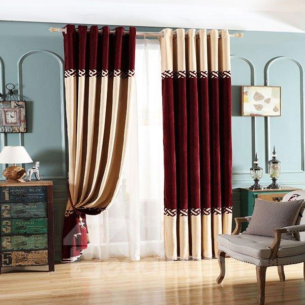 Double-Colored Asymmetric Pattern Grommet Blackout Curtain Panel