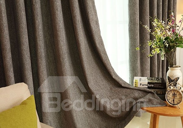 High-Quality Imitation Wool Pure Colored Grommet Top Blackout Curtain Panel