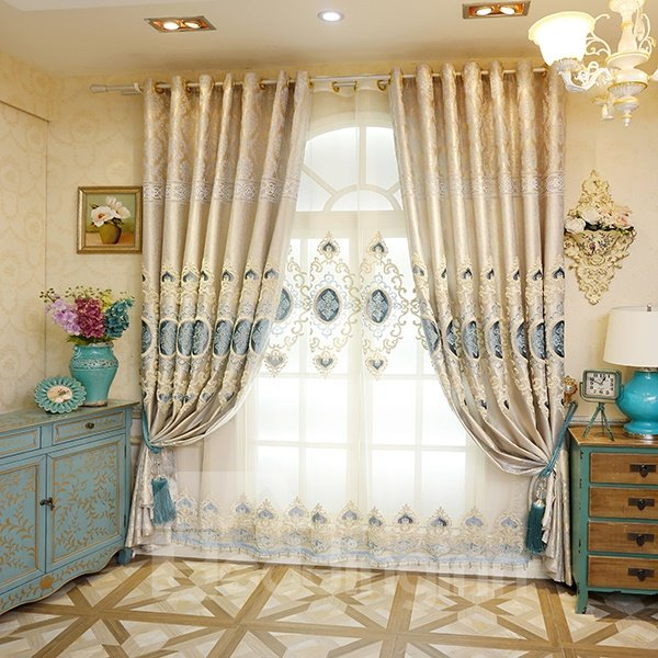High Precision Jacquard Embroidery Blue Circle Pattern Grommet Top Curtain 2-Panel