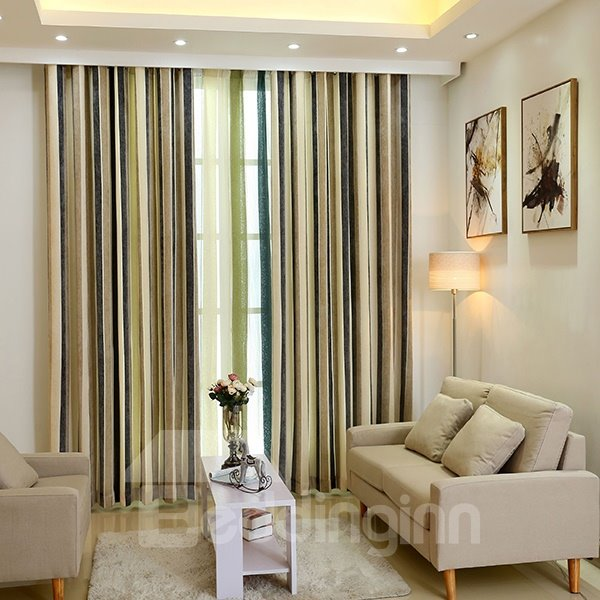 Chenille Imitation Cashmere Stripe Grommet Top Curtain 2-Panels