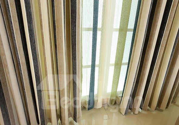 Chenille Imitation Cashmere Stripe Grommet Blackout Curtain Panel