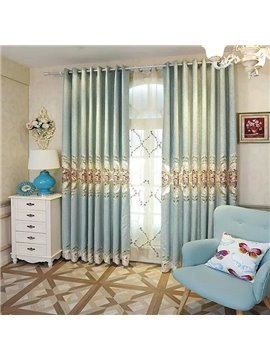 High-Quality Embroidered Velvet Grommet Blackout Curtain Panel