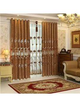 Luxurious Chenille Embroidery Grommet Blackout Curtain Panel