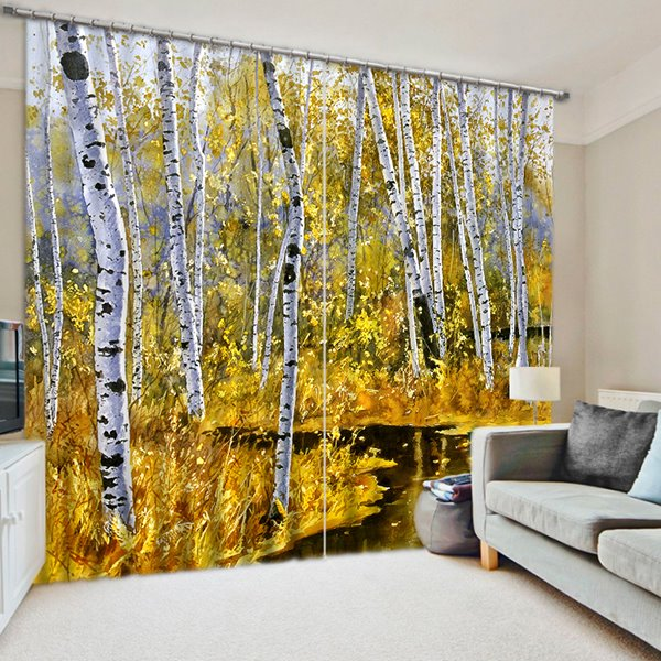 White Birch Forest Printing 3D Curtain