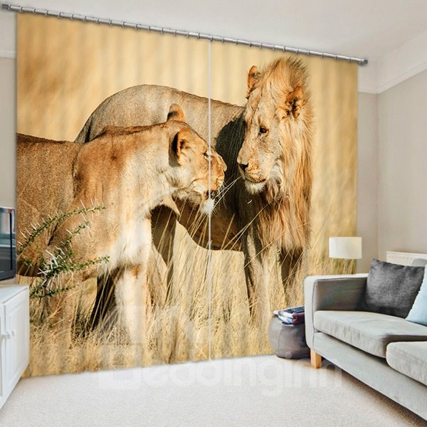 Mother Lion Looking at Kid Lion with Love Print 3D Blackout Curtain