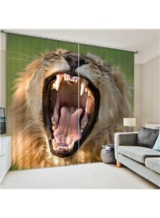 A Yawning Lion Print 3D Blackout Curtain