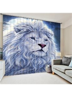A White Lion Staring at the Distance Print 3D Blackout Curtain