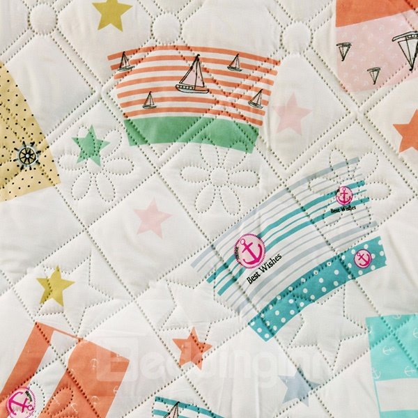 Popular Nautical Theme Reactive Printing Polyester Quilt