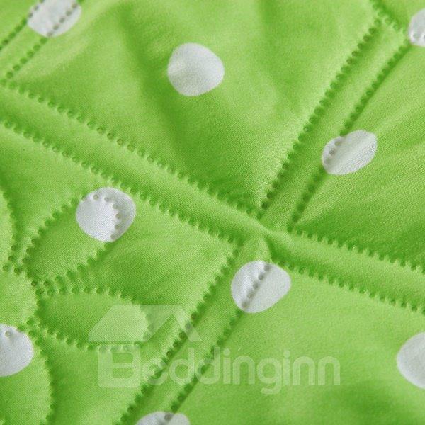 Fresh Green White Polka Dot Print Polyester Quilt