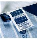 Unique University Badge and Stripes Blue Polyester Quilt
