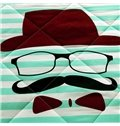 Fashion Cute Mr. Mustache Print Polyester Quilt