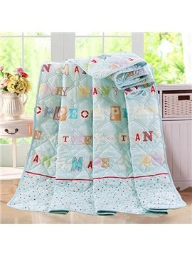 Popular Colorful Letter Design Blue Polyester Quilt
