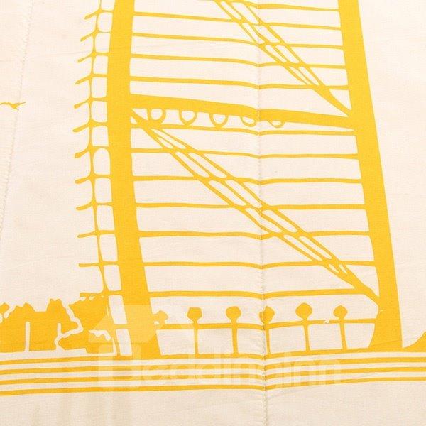 Burj Al Arab Hotel in Dubai Print Yellow Polyester Quilt
