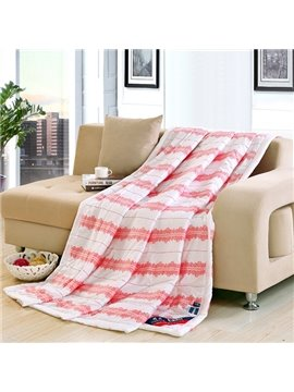 Charming Pink Flower Stripe Print White Polyester Quilt