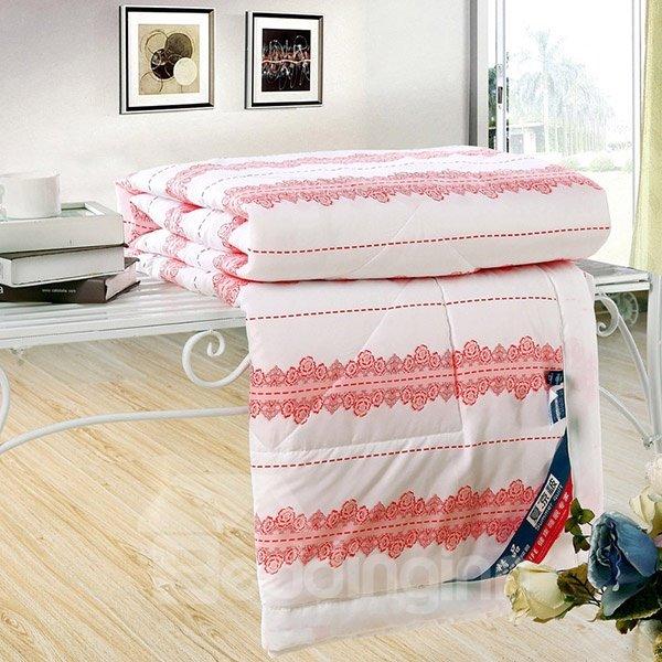 Charming Pink Flower Stripe Print White Polyester Quilt