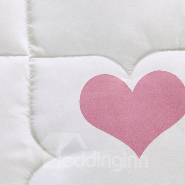 Fancy Heart Shape Pattern White Polyester Quilt