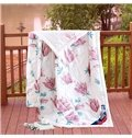 Fantastic Red Flowers Design White Polyester Quilt