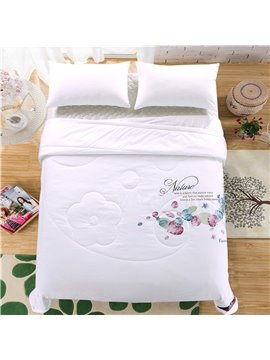Faddish Vivid Leaves Print White Polyester Quilt