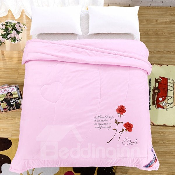 Graceful Chic Red Roses Print Polyester Quilt