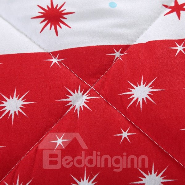 Graceful Star and Moon Print Contrast Color Polyester Quilt