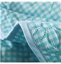 Durable Concise Plaid Reactive Printing Polyester Quilt