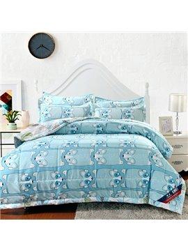 Delicate Lovely Dogs Print Light Blue Polyester Quilt
