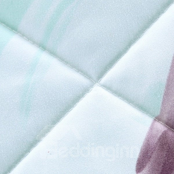 Elegant Purple Morning Glory Light Blue Polyester Summer Quilt