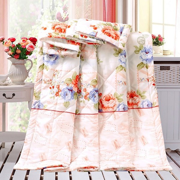 Fantastic Colorful Flowers Print Polyester Summer Quilt