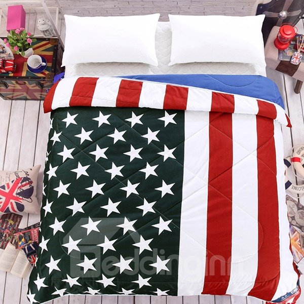 Special Stars and Stripes Design Polyester Summer Quilt