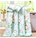 Pretty Graceful Lotus Print Polyester Summer Quilt