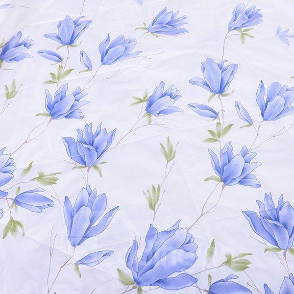 Unique Graceful Flower Print White Polyester Summer Quilt