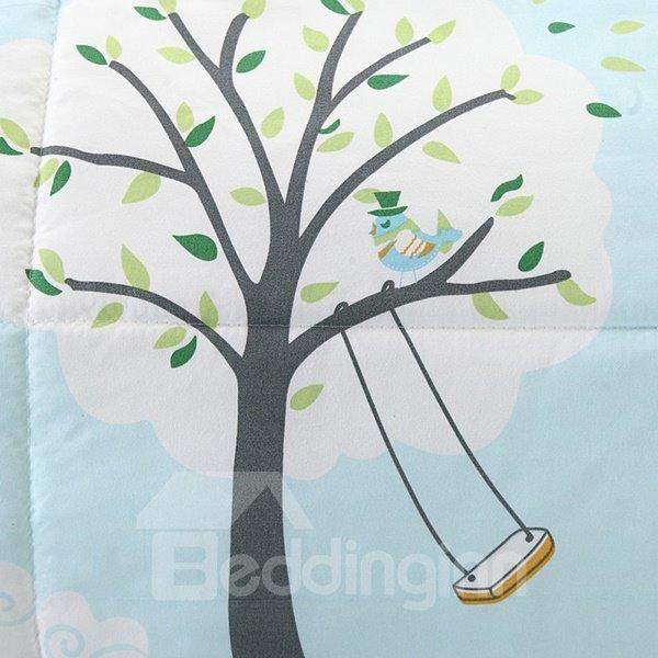 Dreamlike Tree Pattern Sky Blue Polyester Summer Quilt