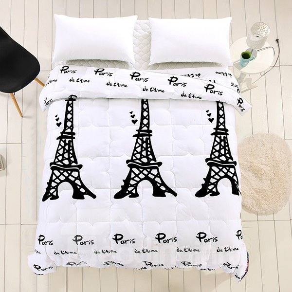 Graceful Eiffel Tower Print White Polyester Summer Quilt