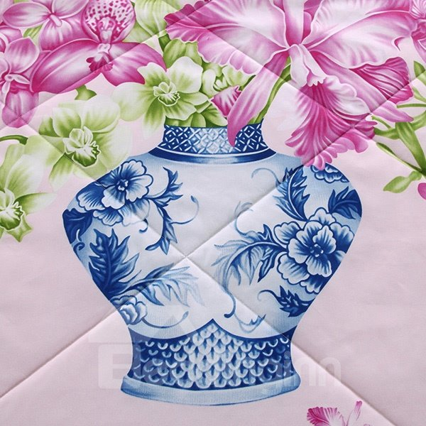 Chic Glamorous Flowers Design Pink Polyester Summer Quilt