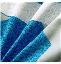 Popular Concise Blue and Black Stripe Star Print Polyester Summer Quilt
