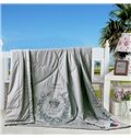 Graceful Crown Print Grey Polyester Summer Quilt