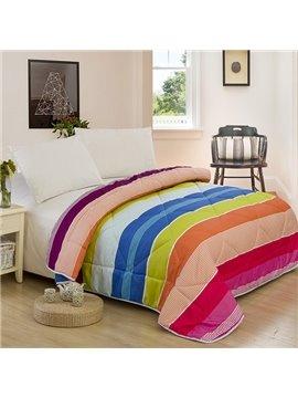 Fancy Colorful Stripe Design Polyester Summer Quilt