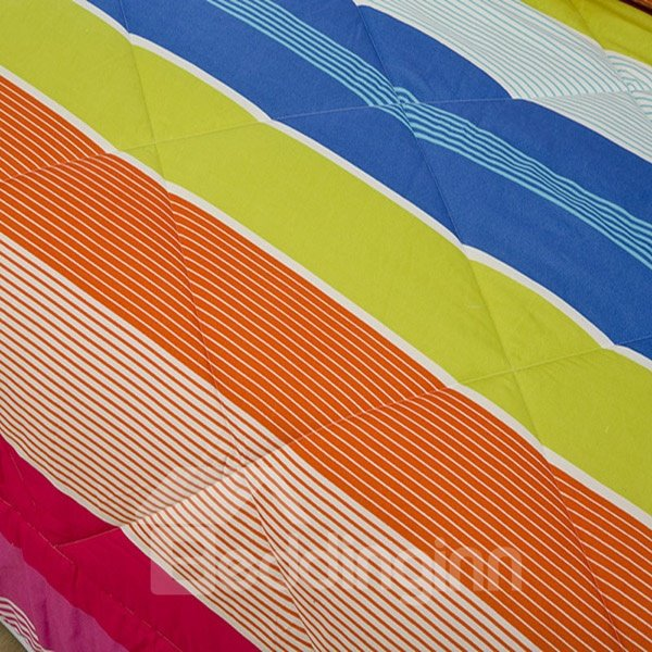 Fancy Colorful Stripe Design Polyester Summer Quilt