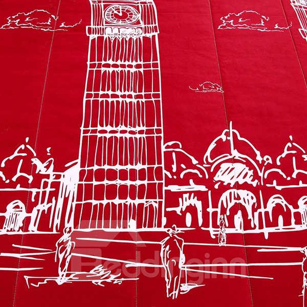 Chic Big Ben Print Red Polyester Summer Quilt