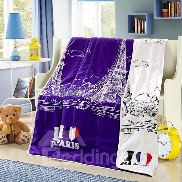 Durable Eiffel Tower Print Purple Polyester Summer Quilt