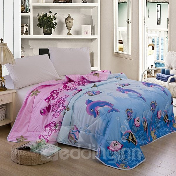 New Style Cute Dolphin Print Polyester Summer Quilt