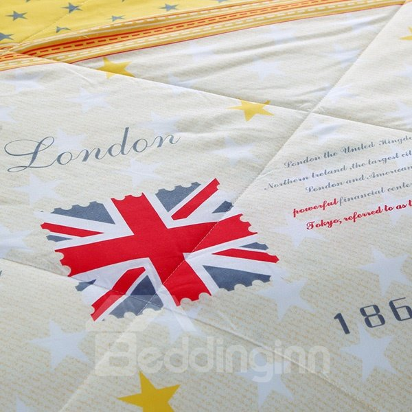 High Class Stylish Flag Print Polyester Summer Quilt