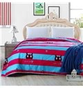 Fancy Blue and Red Stripe cartoon Kitty Polyester Summer Quilt