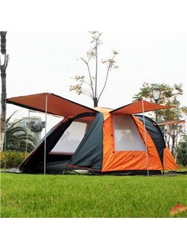3-4 Person One Bedroom Waterproof and Windproof Double Layers Fiberglass Skeleton Tent