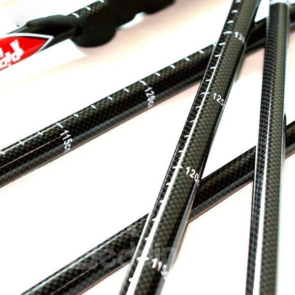 Carbon Fiber Stick Pole with Lock Trekking Hiking Adjustable Triarticular Alpenstock